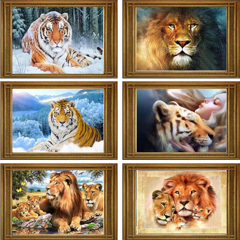 MIAODU 5D DIY Diamant Mosaik Lion tiger Handgemachte Diamant Malerei Kreuz Stich Kits Diamant Stickerei Muster Strass Kunst