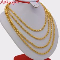 Adixyn Length 200cm 4MM Ethiopian Chain Necklaces for Women/Men,Gold Color African Eritrean Necklace/Dubai/Arab N0254