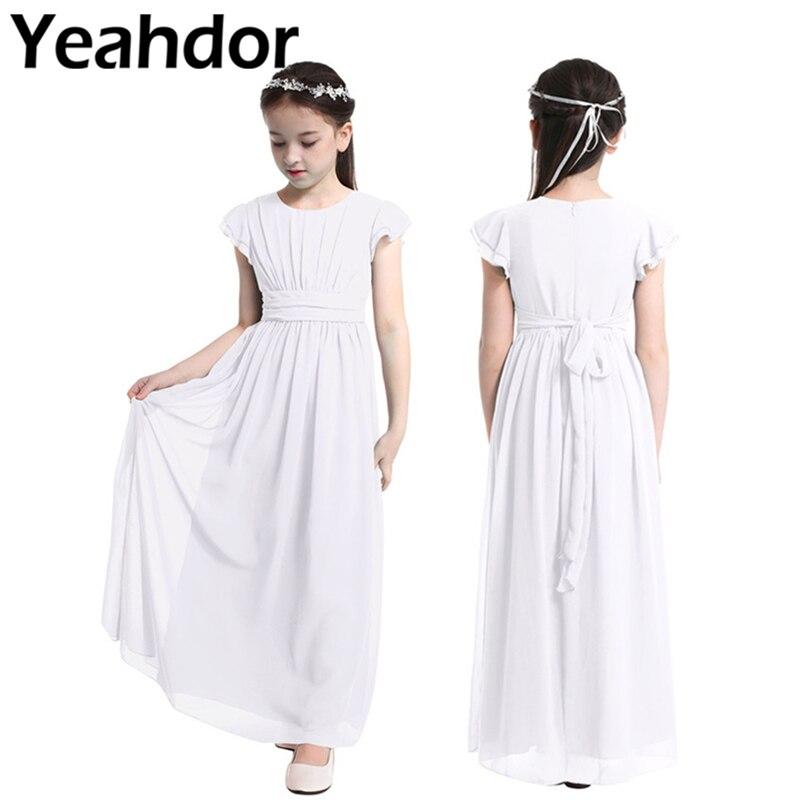 Шифоновое платье с рукавами-воланами для девочек, Длинное Пышное платье для свадьбы, дня рождения, причастия, праздничное платье принцессы