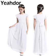 Girls Chiffon Flutter Sleeves Flower Girl Dress Pageant Wedding Birthday Party Long Dress First Communion Party Princess Dress