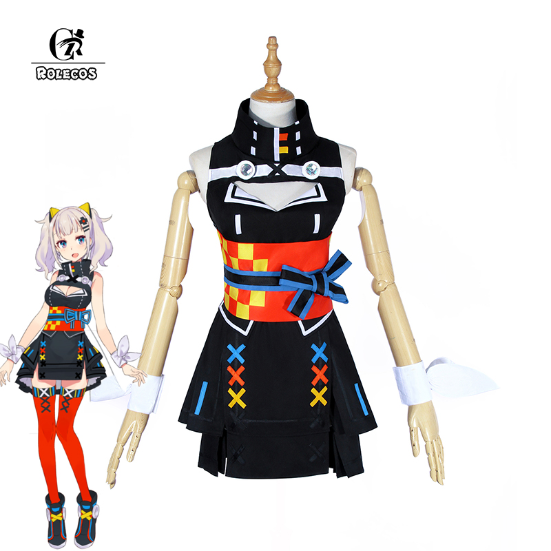 ROLECOS AI Youtuber Kaguya Luna Costume Cosplay Virtuale Youtuber AI Cosplay Nero Gothic Lolita Dress Costume Delle Donne di Halloween