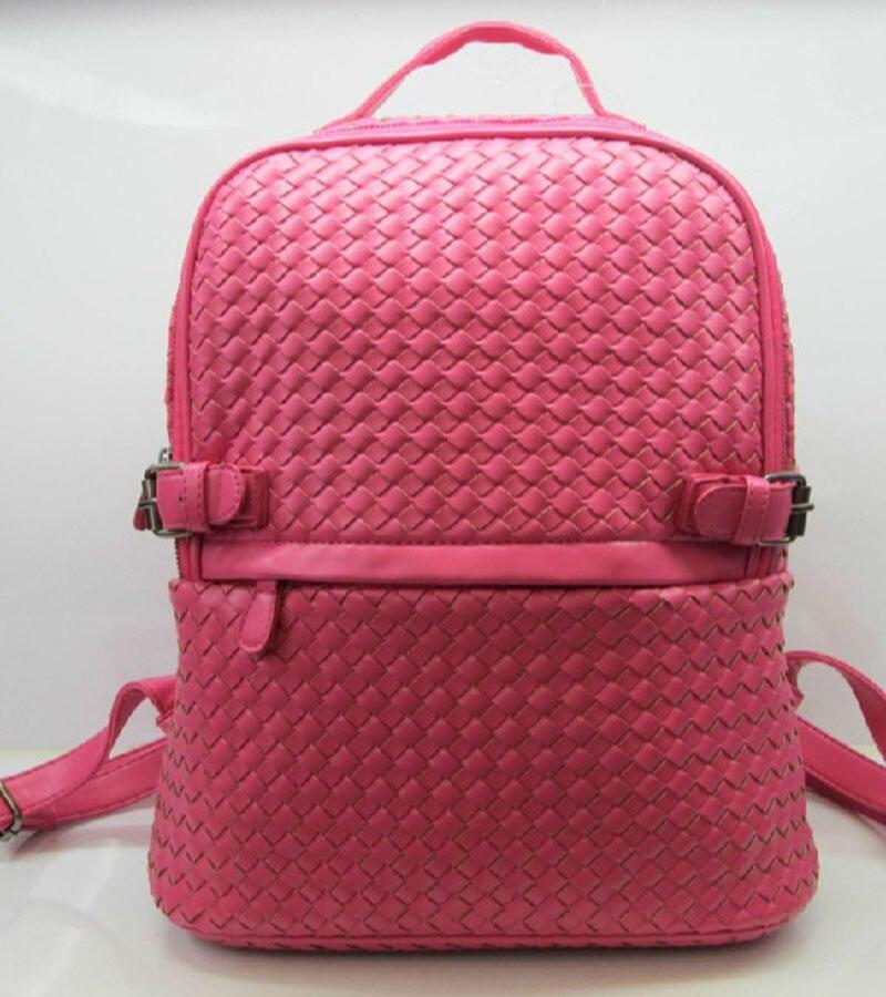 Бесплатная доставка женщины моды для мужчин рюкзак премиум PU сплетенный мешок путешествия рюкзак ручной переплетения сумки