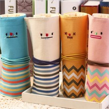 1Pcs lovely smiling face multi-function Pencil Pen Zipper Canvas bag Cosmetic Cosmetic Brush Makeup Storage Pouch bag Case Purse