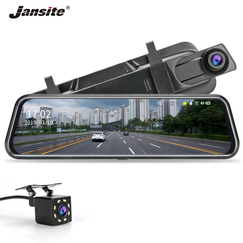 Jansite 10 inches Touch Screen 1080P Car DVR Dash camera Dual Lens Auto Camera Video Recorder Rearview mirror with Backup camera