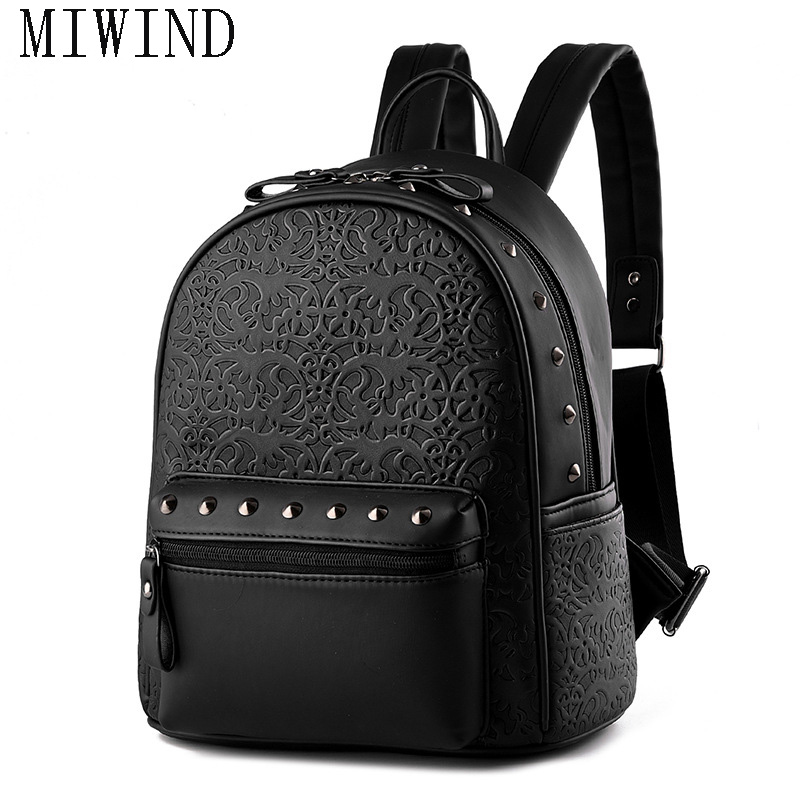 Fashion Leather Backpack Punk Style Embossed Small Women Backpack For Teenage Girl Travel Bags TTY508