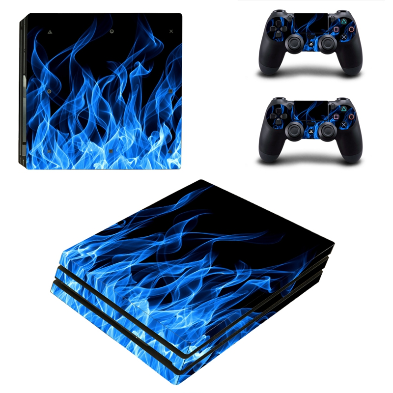 HOMEREALLY PS4 Pro Skin Blue Fire Vinly Decal Sticker Cover For Playstaion 4 Pro Console and Controller Skin Ps4 Pro Accessory