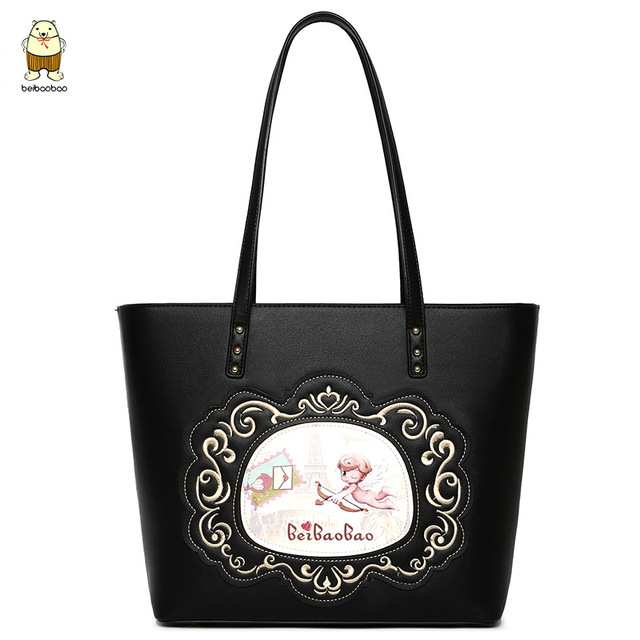Beibaobao Women Tote Bag Fashion Printed Pu Leather Handbags 2017 Winter New Casual Shoulder