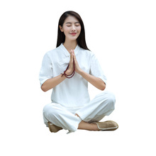 Women Yoga set Loose Cotton Linen Yoga Pants Half Length Yoga Top Pants Meditation Suit Tai Chi Kung Fu Martial Arts Clothing стоимость