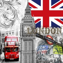 Laeacco London Big Ben Bus Flag Street Buildings Photography Background Customized Photographic Backdrops For Photo Studio