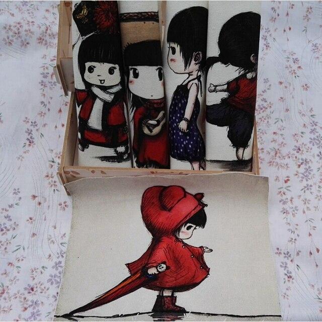 Digital impressa pano 20*20 cm 100% lona de algodão diy handmade tecido remendo frete grátis projeto da menina