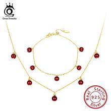 ORSA JEWELS 925 Sterling Silver Women Necklaces+Bracelets Beads Bracelet Garnet Natural Stone Necklace Silver Jewelry Set OSS33 kjjeaxcmy boutique jewels 925 pure silver inlaid natural orange garnet necklace chain jewelry double row support test