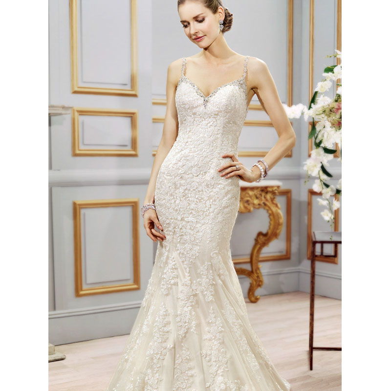 Lace Mermaid Wedding Gown With Straps: Robe De Mariee Sirene 2016 Spaghetti Straps Backless