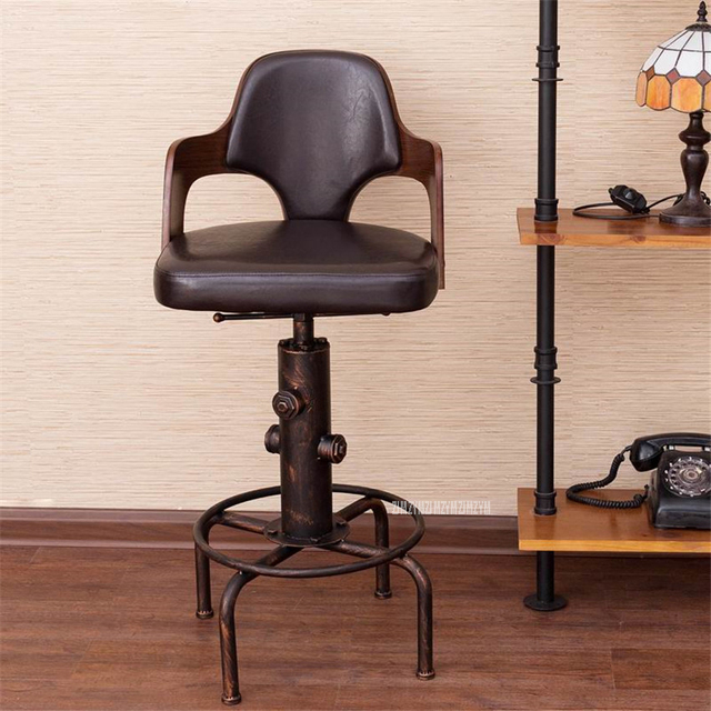 Europe Retro Style Height Adjustable Bar Chair With Footrest Wood Backrest Swivel Bar Stool Counter Coffee Pub Chair Barstool 1