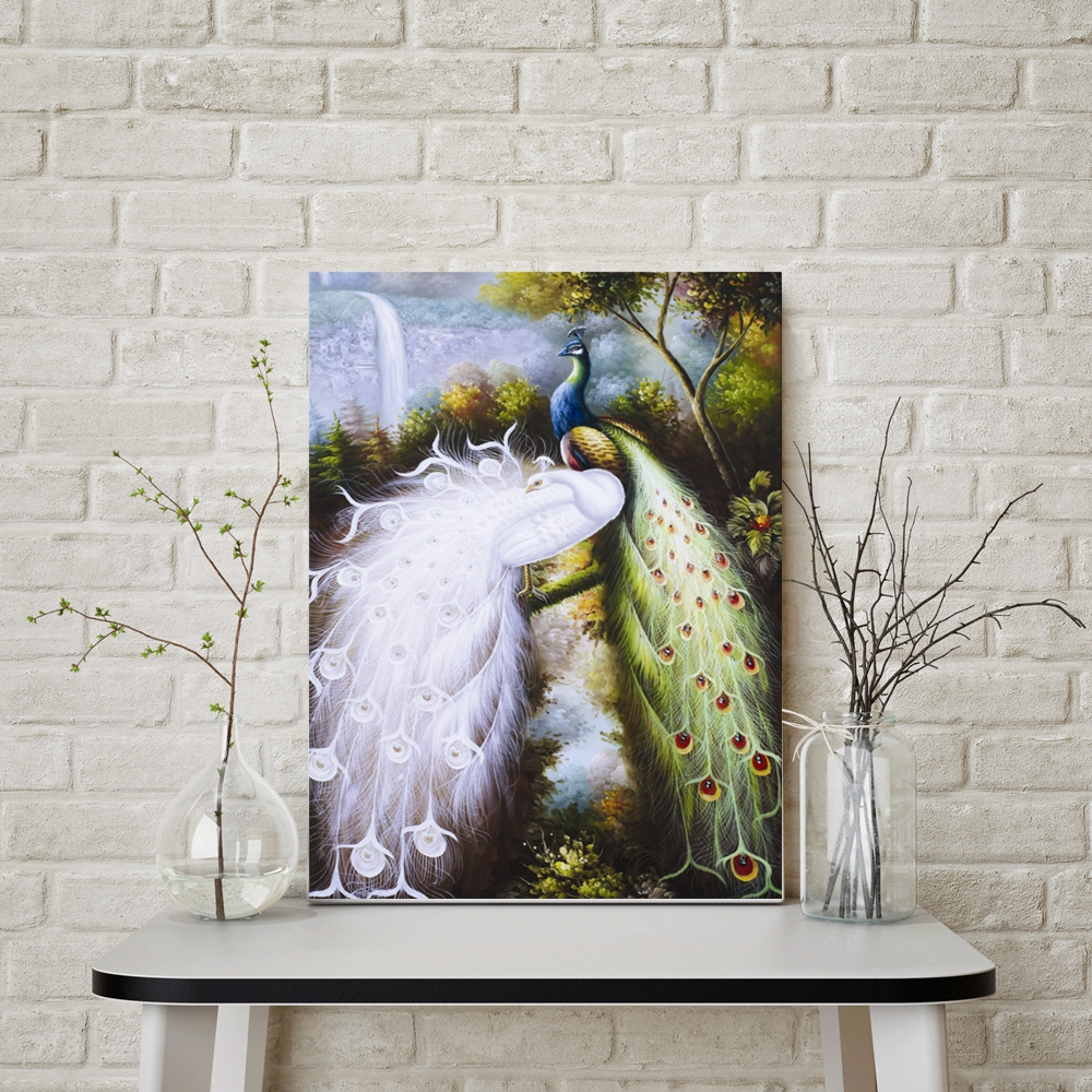 Witte Pauw en Kleur Pauw Handgemaakte Olie Canvas Schilderij voor Woonkamer Wall Decor Animal Vintage Home Decor Hand geschilderd