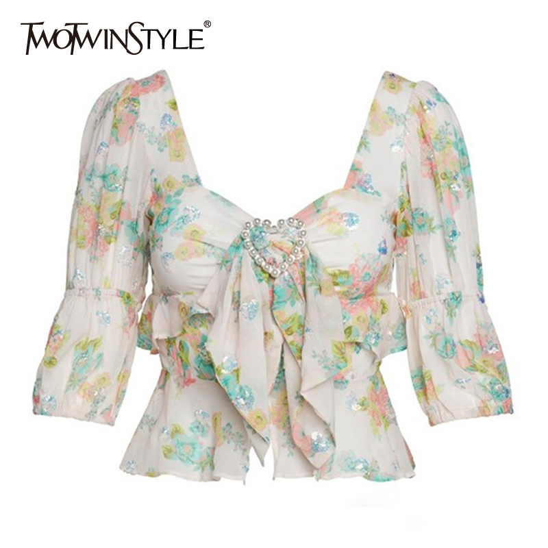 TWOTWINSTYLE Casual Print Women Blouse Square Collar Half Sleeve Bowknot Pearl Button Shirt Female Summer 2019 Fashion New