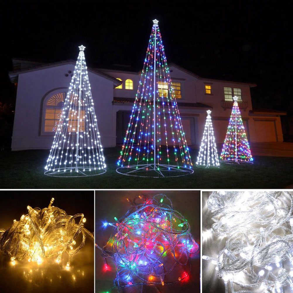 Striped outdoor curtains - 10m 100 Led Outdoor Christmas Decoration For Home Wedding Smas String Fairy Curtain Garlands Strip Party