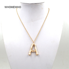 Gold Metal Hammered Bamboo 26 Letters Alphabet A-Z Minimalist Initial Pendant Necklace Fashion Long Chain Neck Jewelry