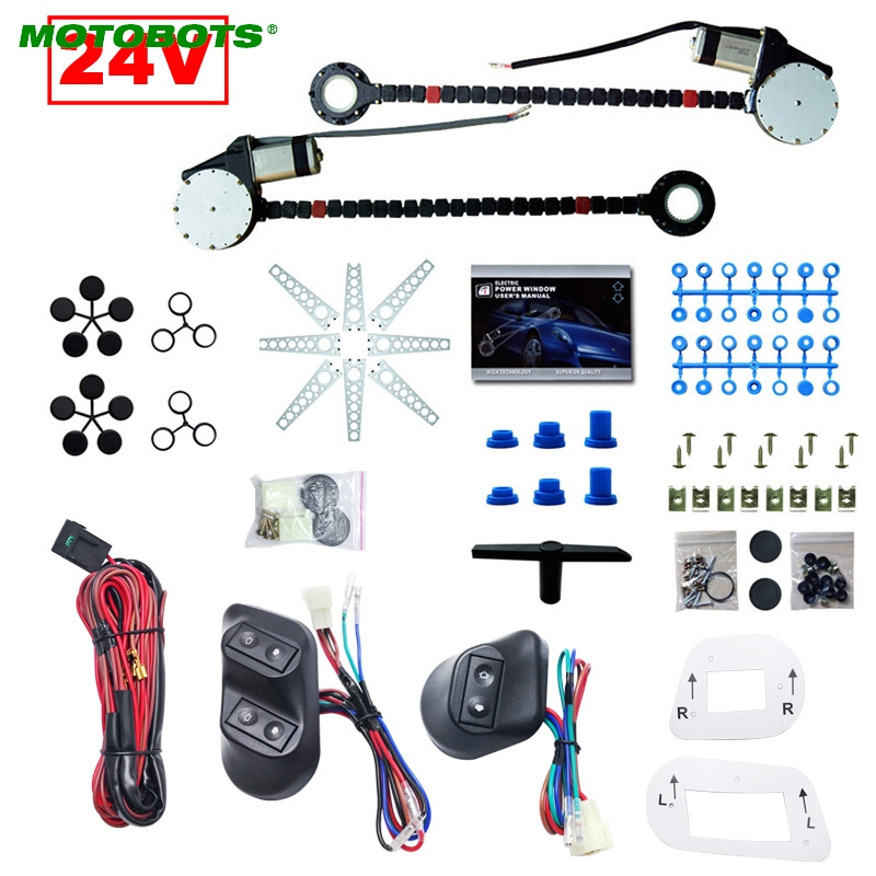FEELDO DC24V Universal Car//Truck 2-Doors Electric Power Window Kits 3pcs//Set Switches and Harness