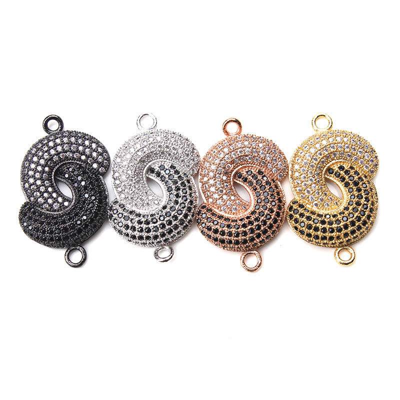 1pc 15*27mm Double Moon Design Copper Connector Micro Pave Hit Color Cubic Zircon Charms Pendant Jewelry Findings Components ...