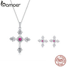 bamoer European Vintage Cross Earrings for Women and Necklace 925 Sterling Silver Retro Pattern Fashion Jewelry Sets ZHS120(China)