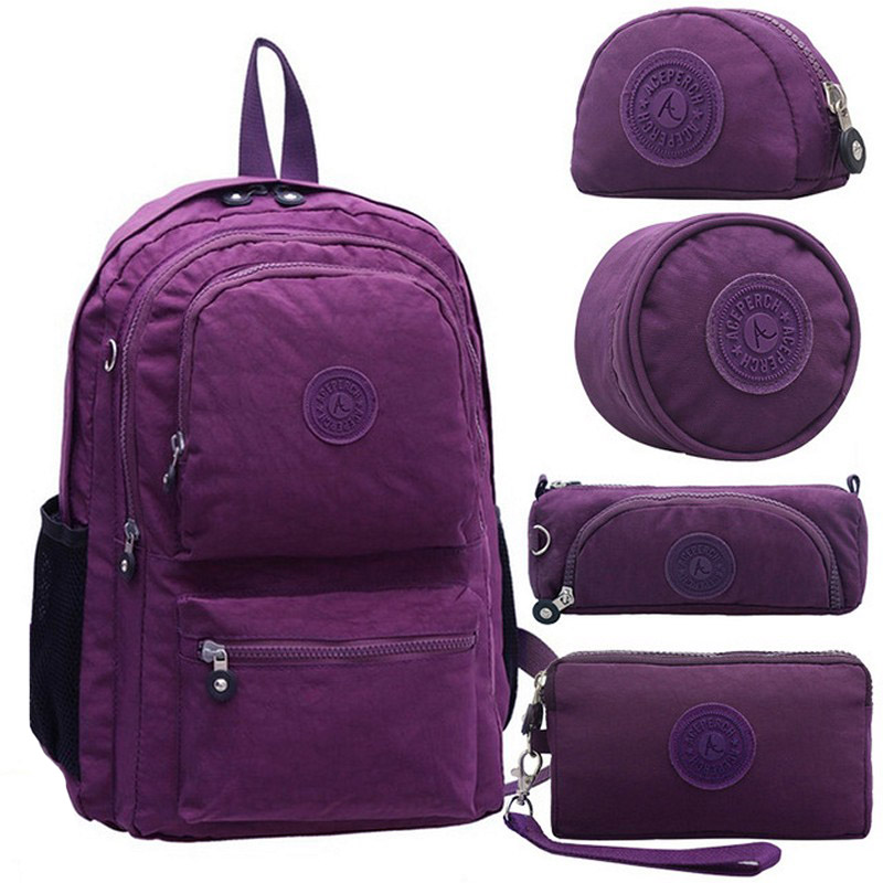 5 Pcs/set Fashion Original School Backpack For Teenage Girl Mochila Feminina Backpack Waterproof Women Laptop Nylon Travel Kiple