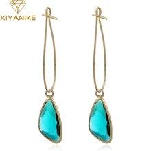 XIYANIKE Fashion Women Classic Luxury Geometry Crystal Statement Drop Earrings  for Women Wedding Jewelry Accessories Gift E1448
