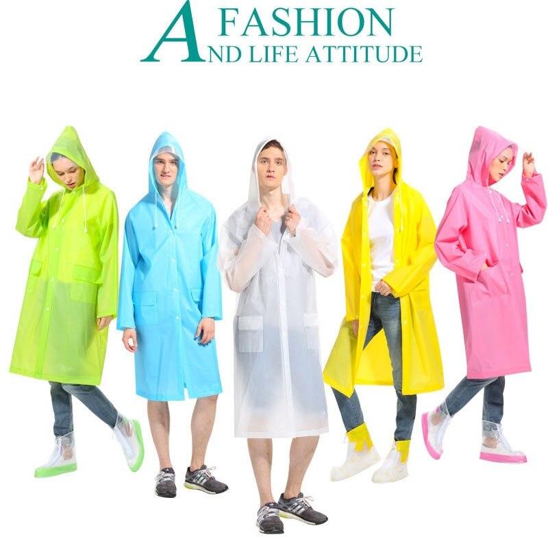 Fashion Adults Multicolor Siamesed Hooded Raincoats EVA Transparent Raincoat Portable Environmental Repeat Use