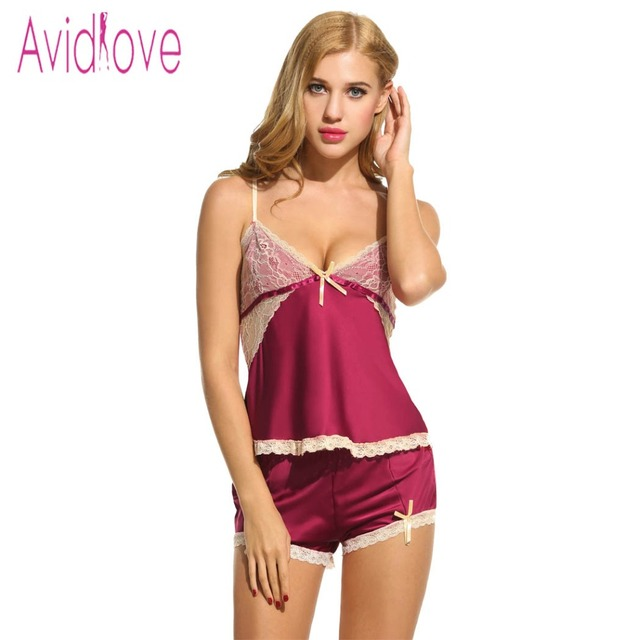 8c5fed0811e3 Avidlove Women Sexy Pajamas Set Sleepwear Summer Spaghetti Strap Tops and  Panties Underwear Ladies Cute Nightwear Lace Nightgown