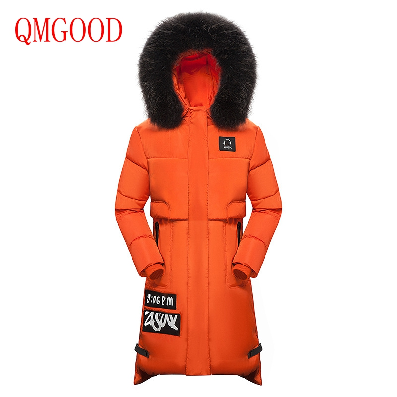QMGOOD Winter Women Cotton Jacket Thicker Long Section Fashion Fur Hat Slim Hooded Parkas Female Keep Warm Overcoat Oversized winter new down jacket women 2017 oversized luxury fur collar thicker coat in the long section of 20 30 40 years old