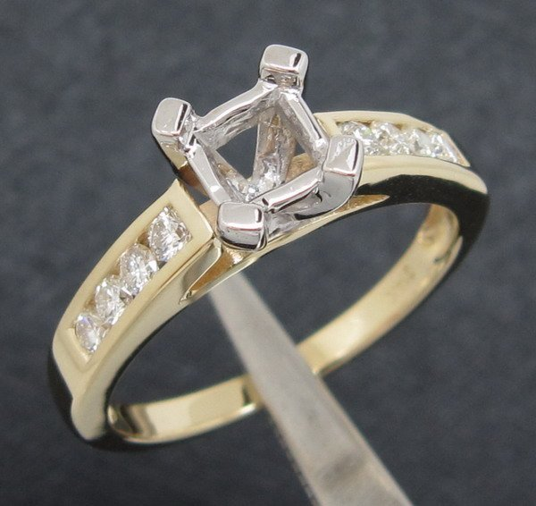 14K Two-Tone Gold Princess Cut Natural Diamond Ring