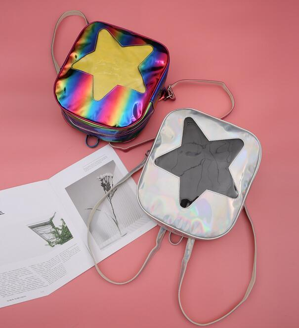 Women Hologram Laser Transparent STAR Shape Kpop Ulzzang Harajuku Backpacks Lolita Ita Bag Schoolbag недорго, оригинальная цена