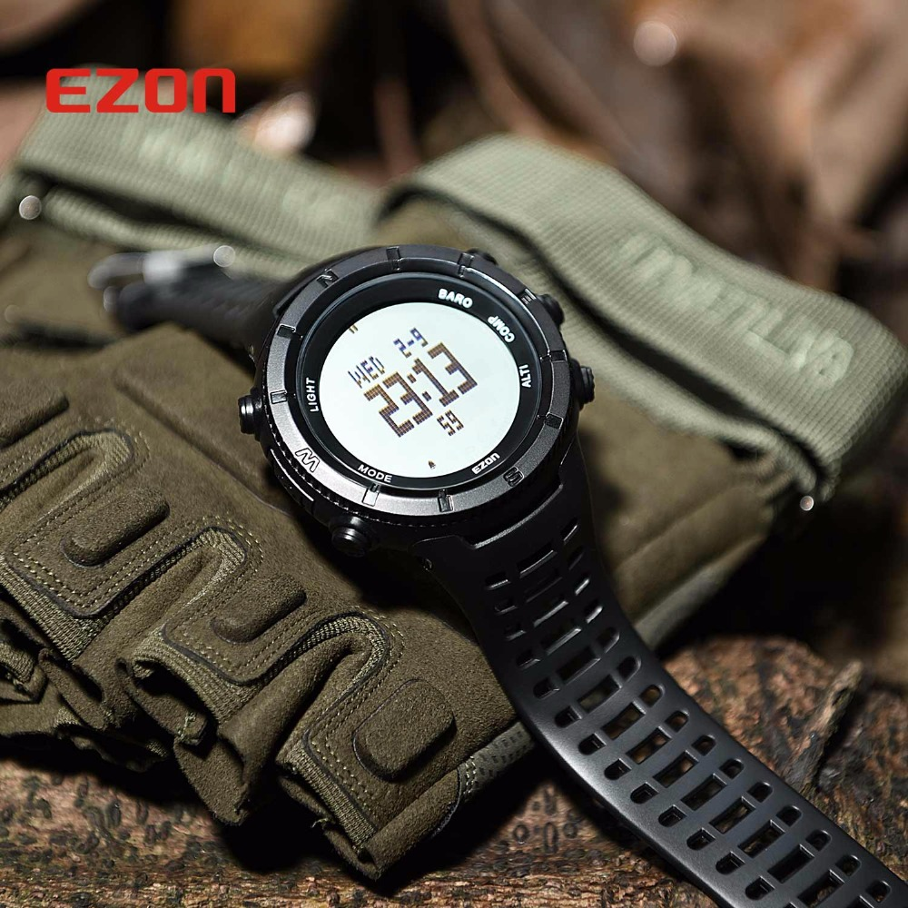 EZON Altimeter Barometer Thermometer Compass Weather Forecast Outdoor Men Digital Watches Sport Hours Climbing Hiking Wristwatch top brand ezon h506 outdoor hiking mountain climbing sport watch men s digital watches altimeter compass barometer