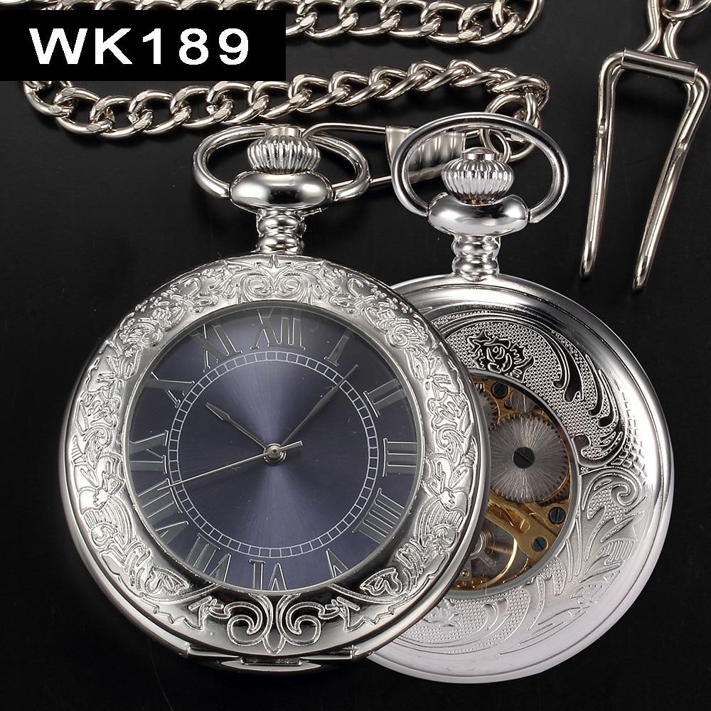 mechanical hand wind POCKET watch silver