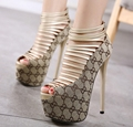 16CM fashion pumps high heels shoes for women thin high heels platform pumps peep toe wedding party shoes sexy high heels