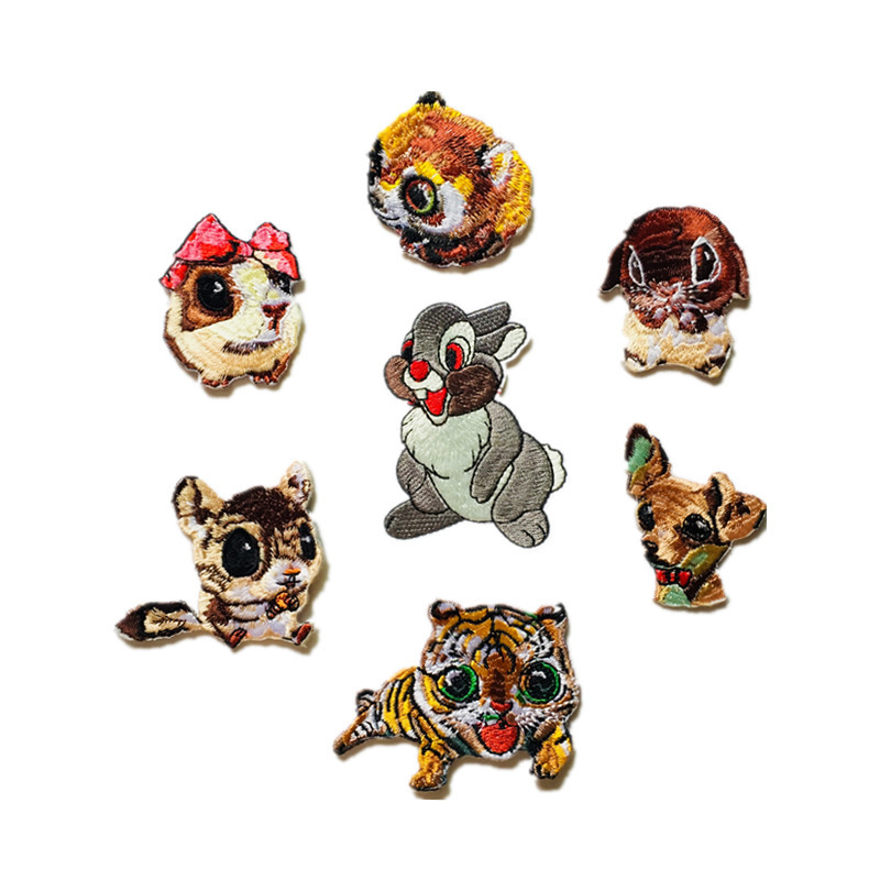 Boutique Cute Animal Combination Embroidery Cloth Stick Cartoon Tiger Rabbit Squirrel Child Clothing Decoration Patch D-026