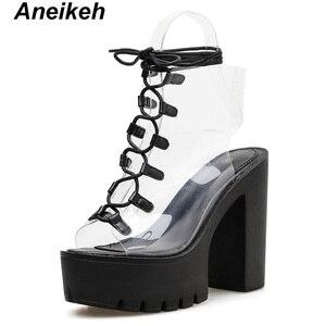 Image 2 - Aneikeh 2019 Leisure PVC Sandals Women Shoes Platform Lace Up Transparent Square High Heels Peep Toe Summer Casual Black Size 40
