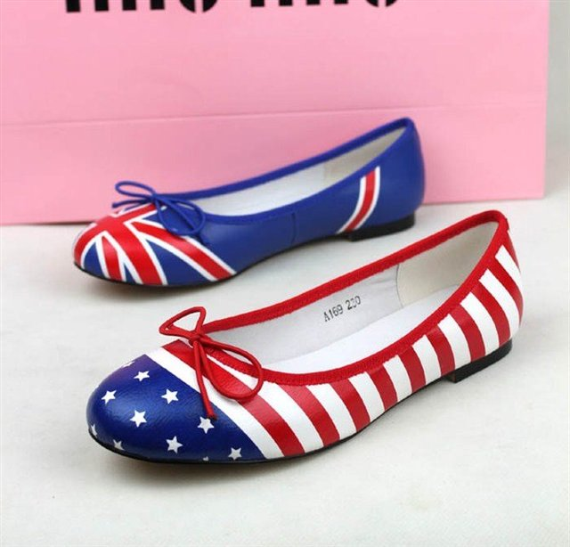 2012 women fashion flats shoes,American flag fight color shoes beef tendon shoes