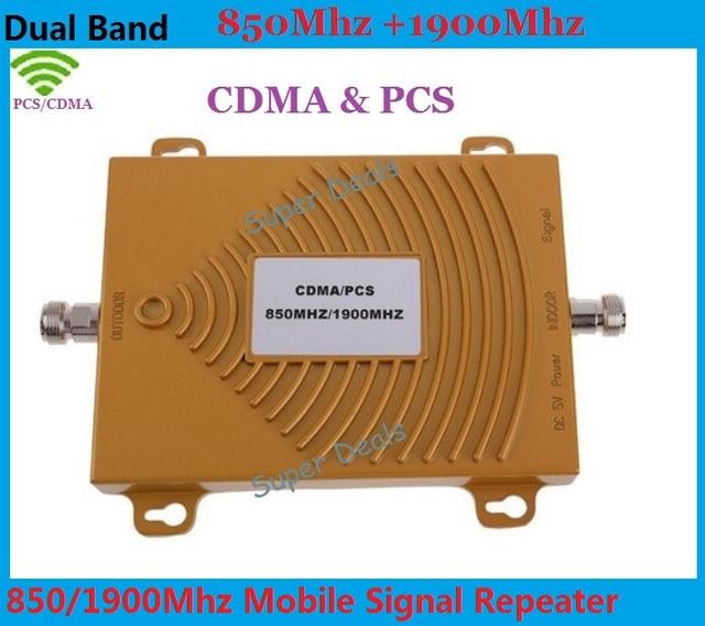 Mini Dual Band Ganancia 65dBi Amplificador de Señal de Teléfono Móvil GSM 850 MHz 1900 MHz CDMA PCS Repetidor de Señal de Teléfono Celular Amplificador de Señal