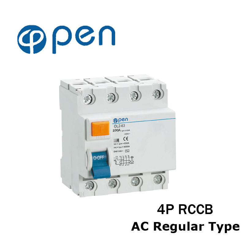 4P 25A/40A/63A/100A Regular Type Residual Current Circuit Breaker RCCB OL2-63 Series for Overload and Short Circuit Protection 400 amp 3 pole cm1 type moulded case type circuit breaker mccb