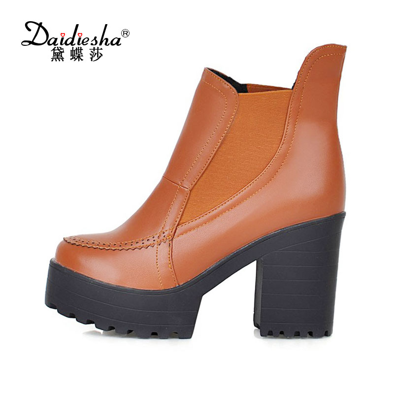 Daidiesha Sexy Women Boots Fashion Platform Square High Heels Black Ankle Boots Woman Brand Design Ladies PU Leather Shoes