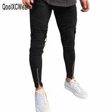 Qoolxcwear venda quente homens designer jeans jeans preto masculino casual jean magro da motocicleta de alta qualidade denim calças