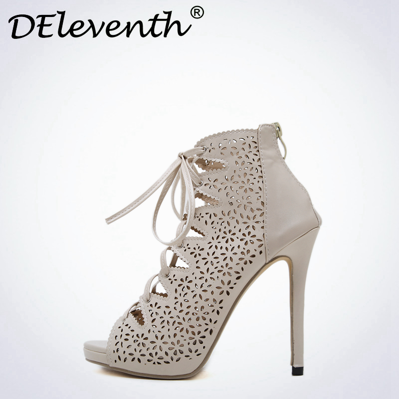 DEleventh Rome Women Sandals Sexy Zipper Cross-tied Shoes Sandals Open Toe Stiletto High Heels Leisure Shoes Zapatos Mujer elegant wedges open toe women sandals ankle buckle rivet shoe women cross tied women casual shoes rome hollowed out lady sandals