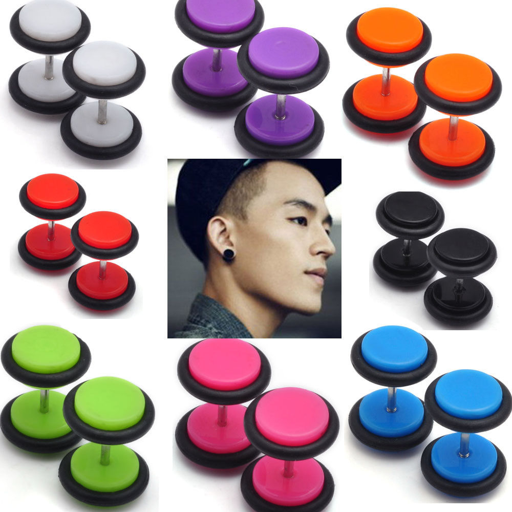 1 Pair Stainless Steel Fake Cheater Ear Plug Tunnels 8mm Gauge Illusion  Body Jewelry Faux Piercing