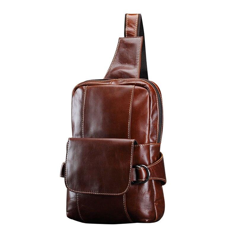 ФОТО 2016 New Fashion Genuine Leather MEN's Chest Bag Shoulder Bags Travel Bags Carteras De Hombro Men Crossbody Bags CH051