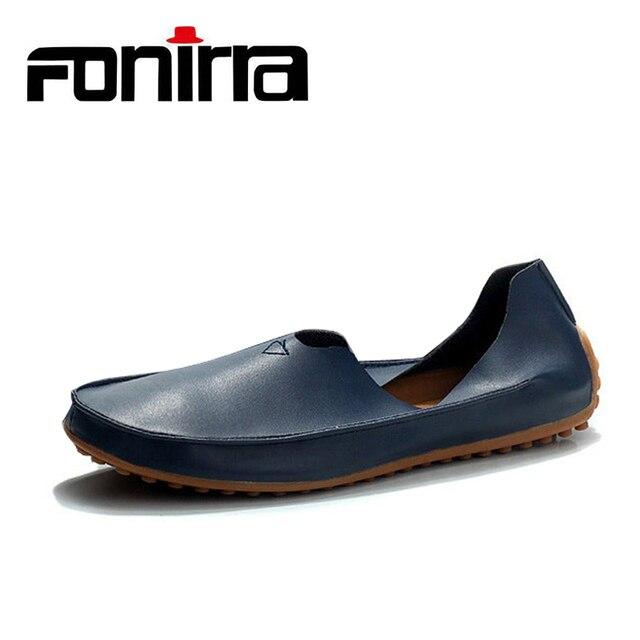 043b6110070ba FONIRRA Mężczyźni płaskie buty ze skóry naturalnej Buty Wygodne męskie  Poślizgu Na Buty Łodzi Mody Leniwe