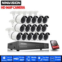 NINIVISION 16CH AHD 960P DVR Kit CCTV Video System 16 x 960P 2500TVL Indoor Outdoor Security Camera set 16channel with 1TB HDD