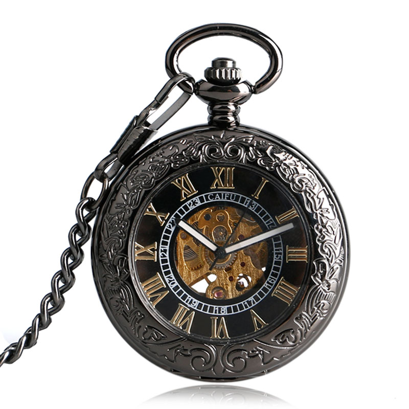 Relojes De Bolsillo Vintage Hollow Glass Case Black Golden Roman Number Dial Skeleton Self-wind Fob Pocket Watches With Chian