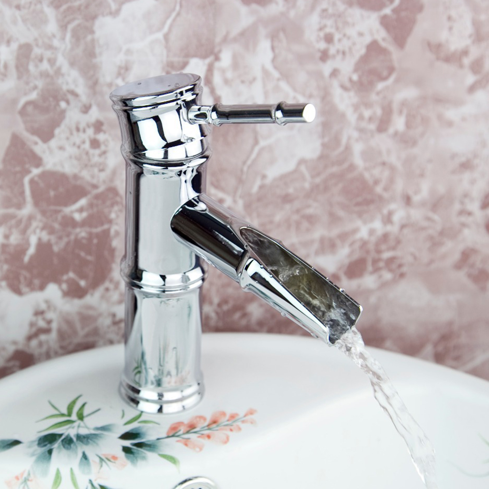 ⓪Grand Delicate Short Bamboo Waterfall Spout Ceramic Deck Mounted ...