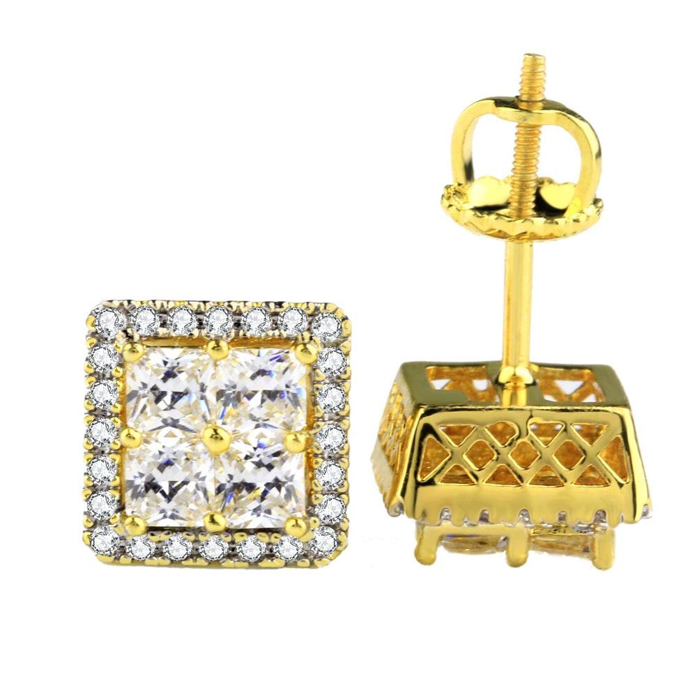Hot Men Earring Hip Hop Bling AAA Cubic Zirconia Stud Earring Square Geometric 925 Sterling Silver Gold Color CZ Stud Earrings
