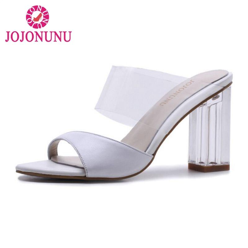 Dames Transparent Femmes Partie Ouvert Chaussures À blanc Bout Jojonunu Robe 34 39 Épais Hauts Véritable En Cuir Noir Talon D'été Talons Sandales Taille fOxwqx8d